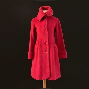 H&M | Lipstick Red Single Breasted Swing Coat | USED - VERY GOOD!